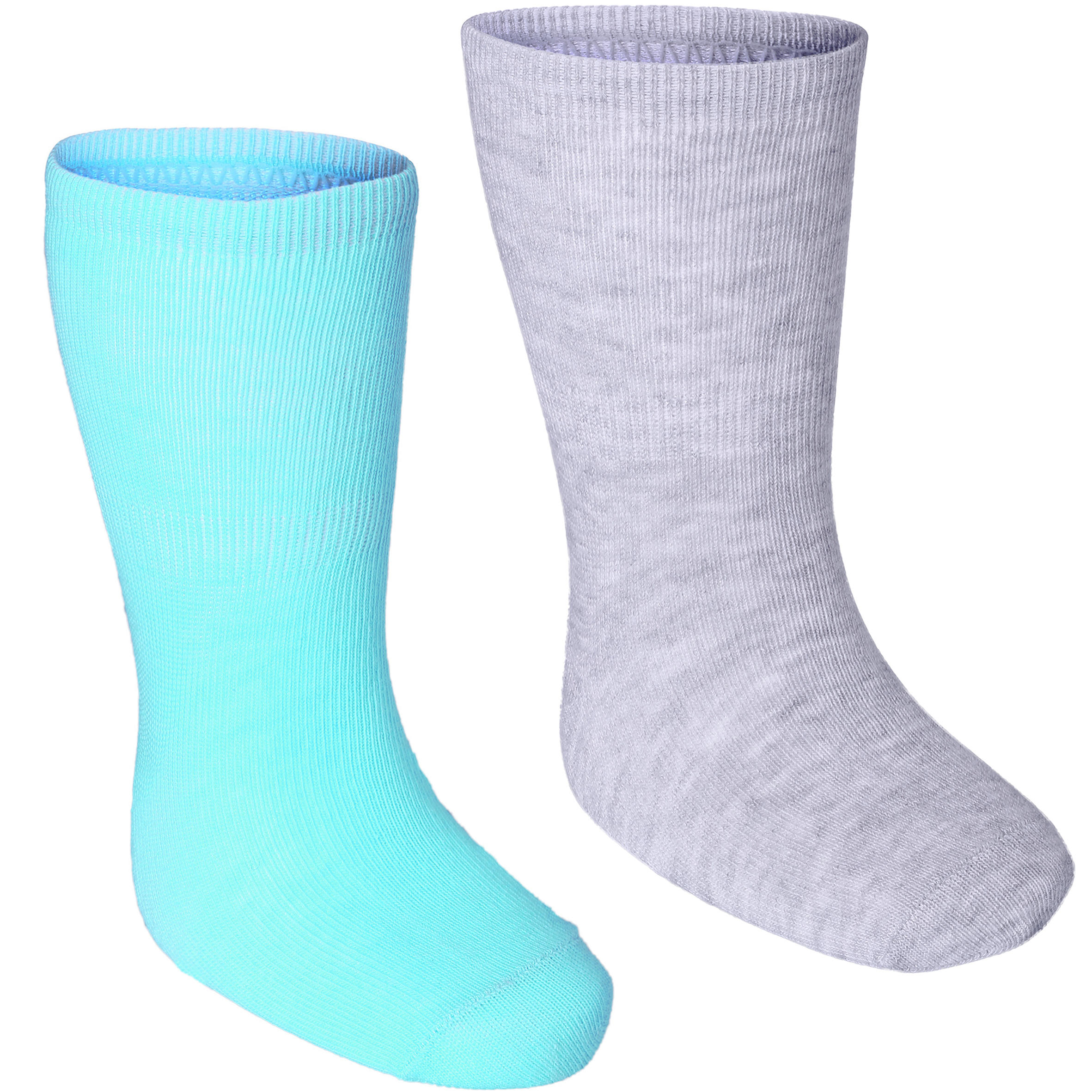 Paquete con 2 pares de calcetines de gimnasia infantil verde claro/gris jaspeado