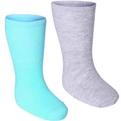 Set van 2 paar antislip sokjes voor kleutergym lichtgroen/gemêleerd grijs