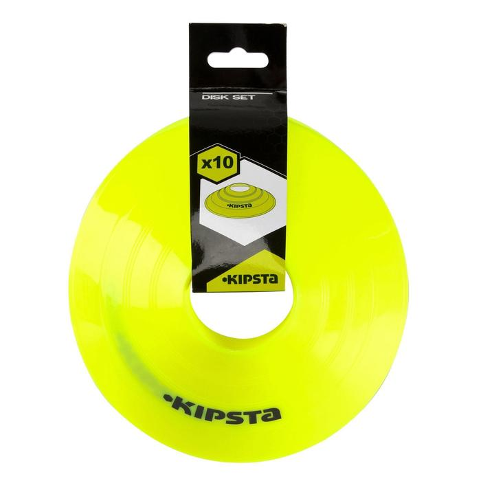 Set de 10 disques plats jaunes fluos - 759537