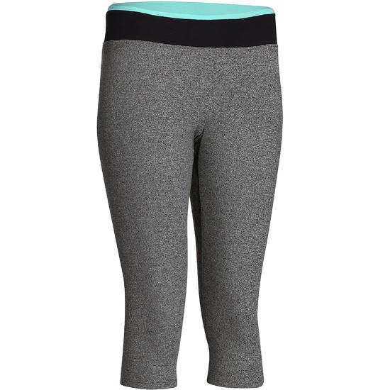 Kuitbroek fitness cardio Energy dames gespikkeld grijs met contrasterende boord - 760895