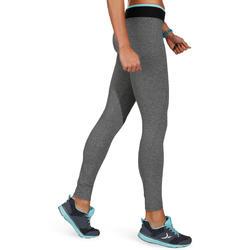 Fitnesslegging voor dames Energy gem. grijs met contrasterende tailleband, zw/bl - 761245