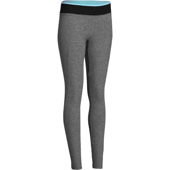 Fitnesslegging voor dames Energy gem. grijs met contrasterende tailleband, zw/bl - 761247