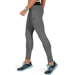 Fitnesslegging voor dames Energy gem. grijs met contrasterende tailleband, zw/bl - 761249