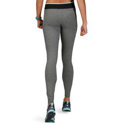 Fitnesslegging voor dames Energy gem. grijs met contrasterende tailleband, zw/bl - 761250