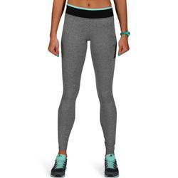 Fitnesslegging voor dames Energy gem. grijs met contrasterende tailleband, zw/bl - 761251