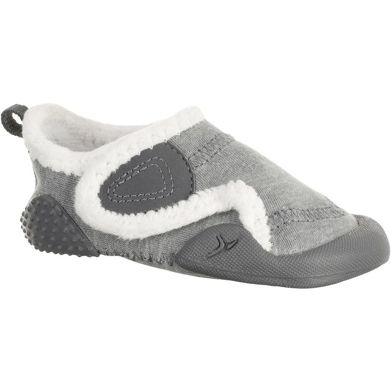 Chaussons 550 Babylight Gym Double Gris Chine Blanc Domyos By Decathlon
