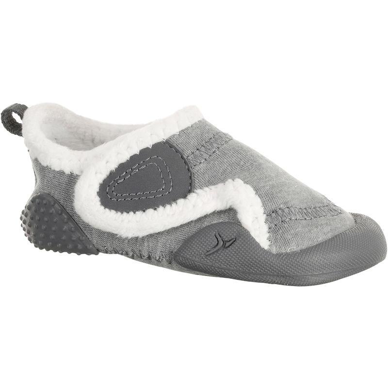 1f9b5a0ef9e Zapatillas primeros pasos 550 BABYLIGHT GIMNASIA forradas gris jaspeado  blanco