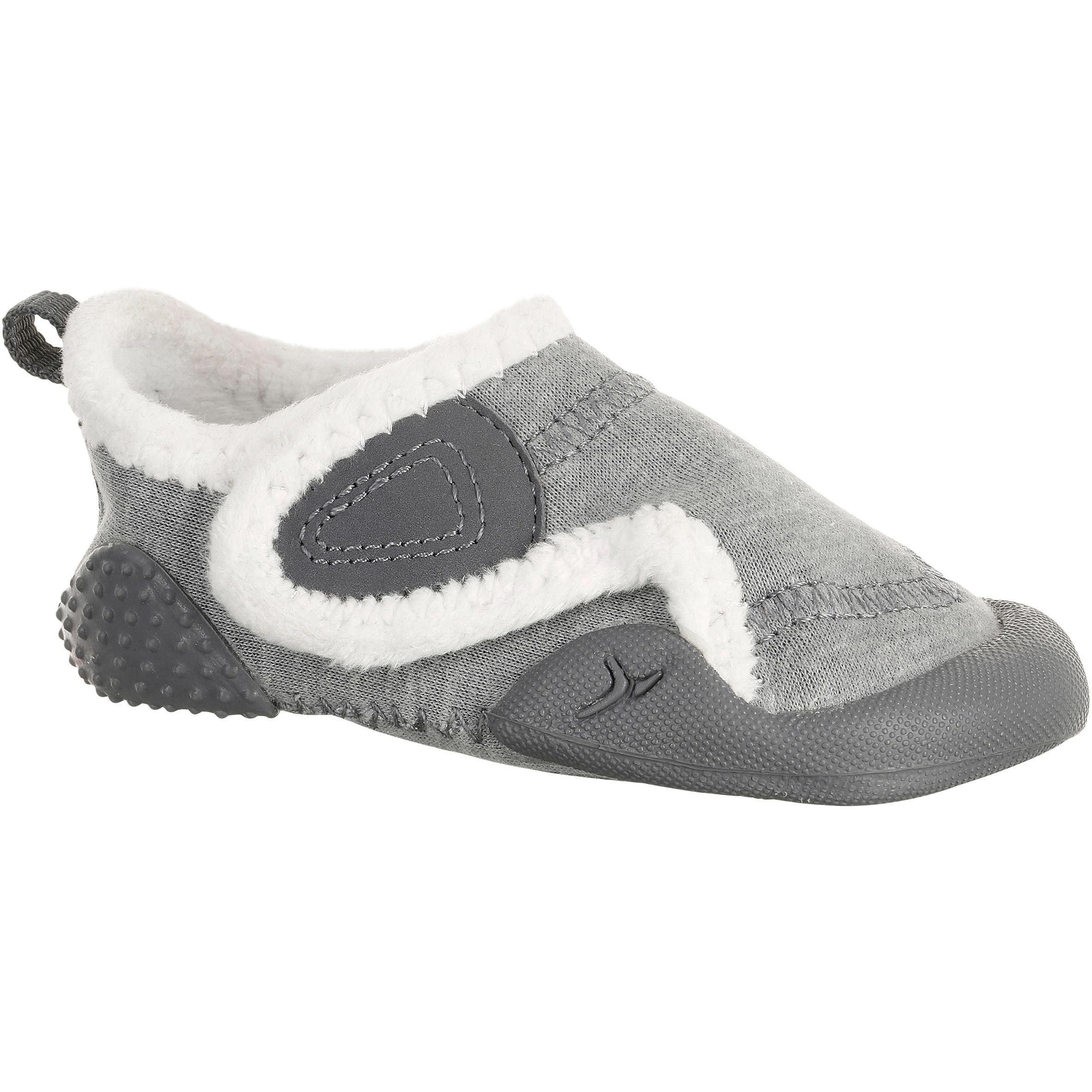 Gevoerde gymschoentjes Babylight voor kleutergym grijs-wit