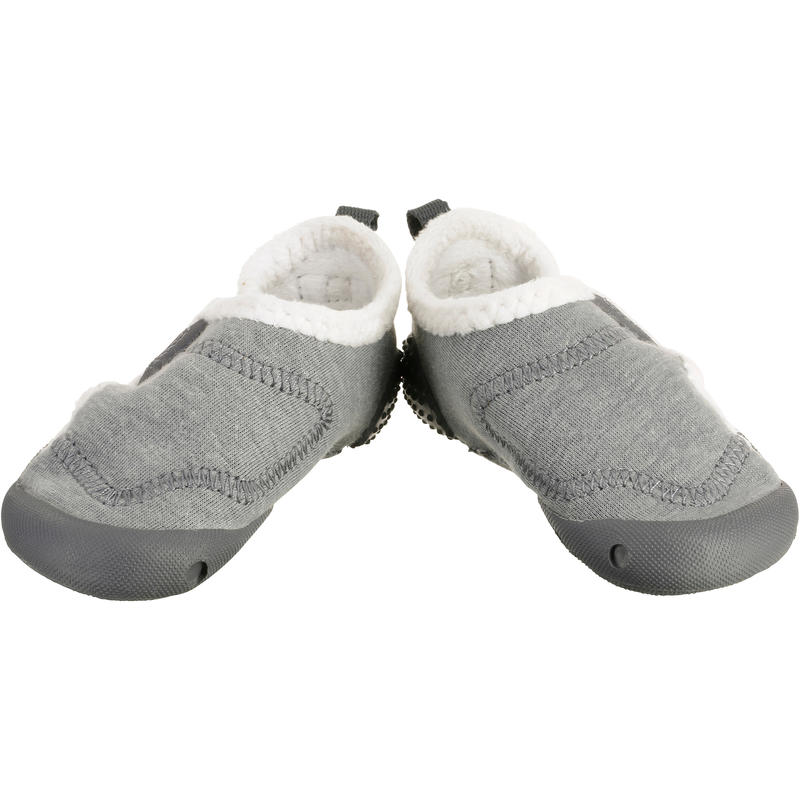 Babylight Baby Gym Lined Bootees - Heathered Grey/White
