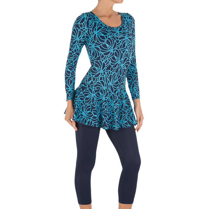 Audrey Women's Sleeves Legs Map Swimsuit With Long Sleeves - Blue
