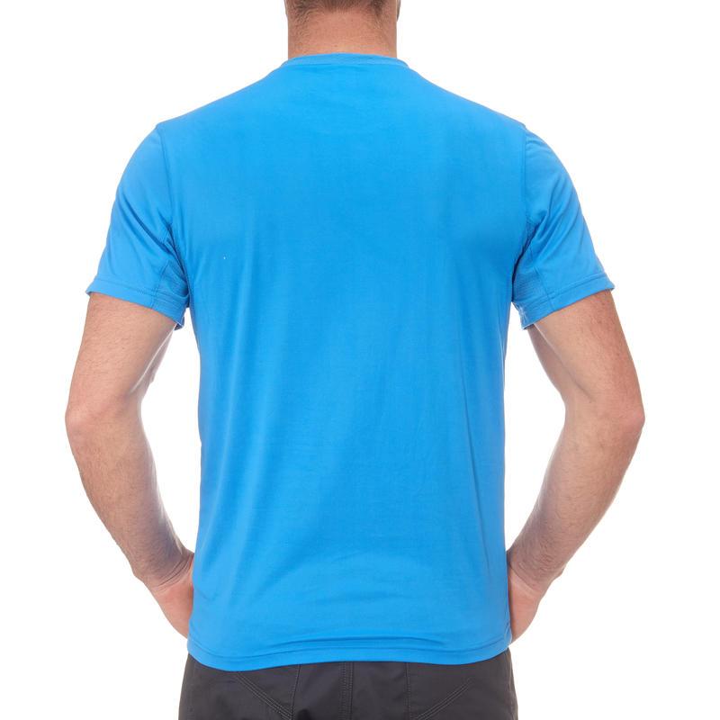 Camiseta hiking montaña MH100 manga corta hombre Azul