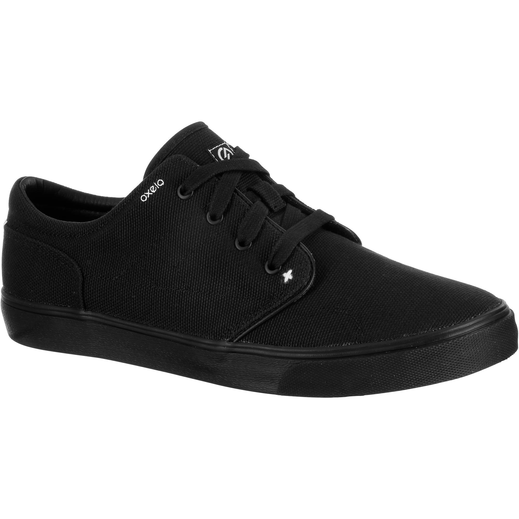 chaussures basses skateboard longboard adulte vulca canvas full black oxelo. Black Bedroom Furniture Sets. Home Design Ideas