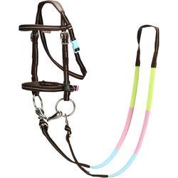 Cabezada + riendas equitación INICIACIÓN marrón y azul claro - talla poni