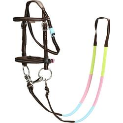 Hoofdstel + teugels ruitersport Initiation bruin en lichtblauw - maat pony