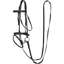 Cabezada + riendas de equitación RECALL negro - poni y caballo