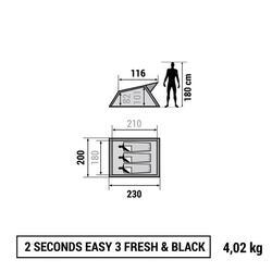 Pop up tent 2 Seconds 3 Fresh&Black I 3 personen wit - 766509