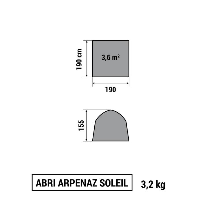 CAMPING/TREKKING SHELTER WITH DOOR FOR 4 PERSONS FRESH UPF50+ WHITE