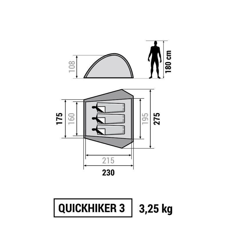 Quickhiker 3 Hiking Tent _PIPE_ 3 people
