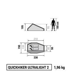 Trekkingtent / bivaktent Quickhiker Ultralight   2 personen lichtgrijs - 766536