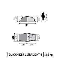 Trekkingtent / bivaktent Quickhiker Ultralight | 4 personen lichtgrijs - 766538