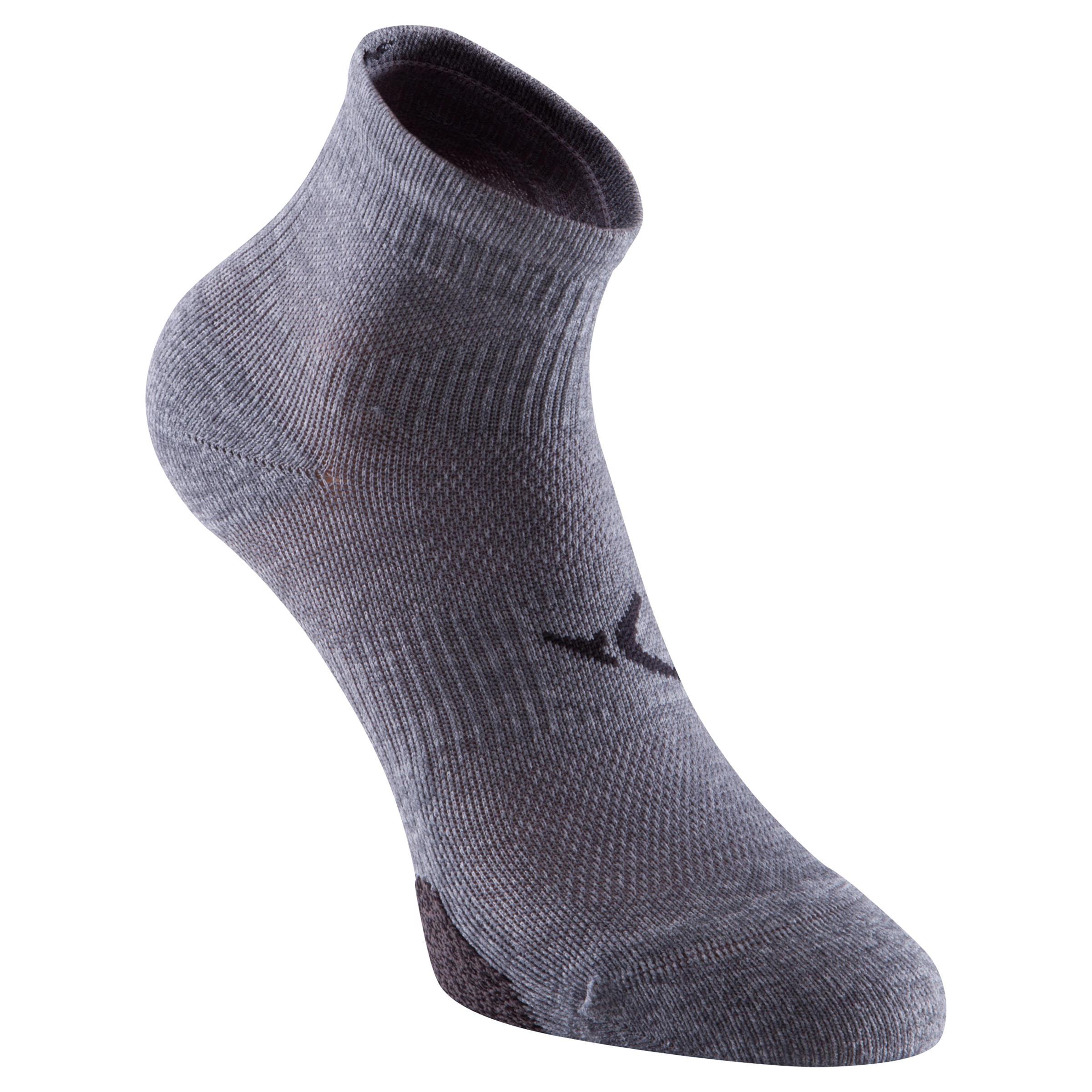 Calcetines cortos fitness x2 gris 500