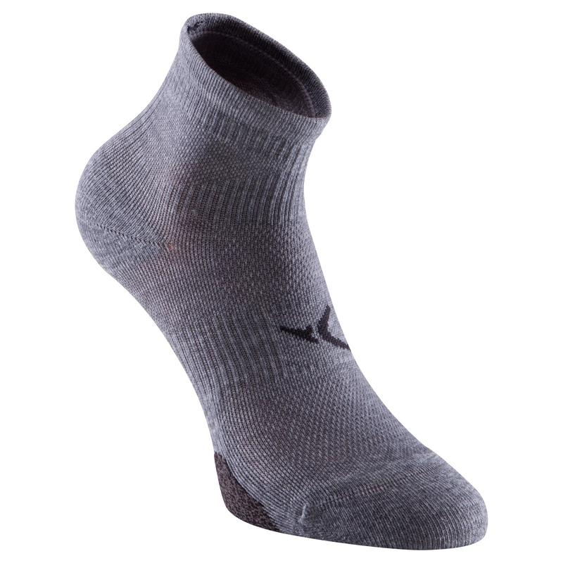 Chaussettes basses fitness cardio training x2 gris
