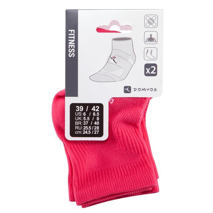 Calcetines Fitness Cardio Domyos Adulto Rosa Pack 2 Cortos