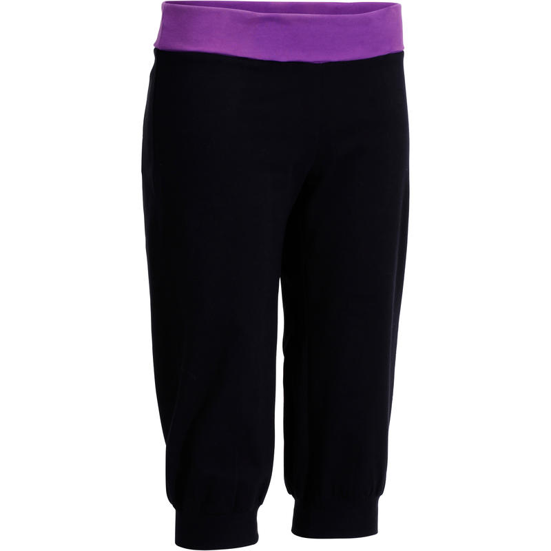 Yoga Women's Organic Cotton Cropped Bottoms - Black/Purple