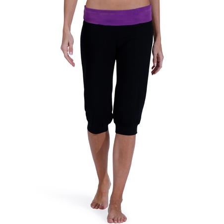 Organic Cotton Yoga Cropped Bottoms - Black