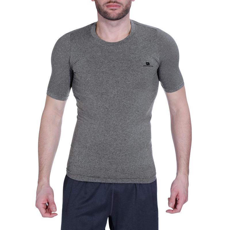 Camiseta de compresión fitness MUSCLE hombre gris