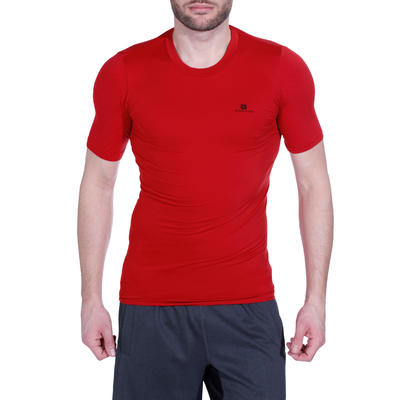 T-shirt compression fitness MUSCLE homme rouge