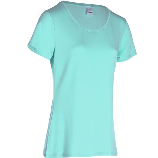 Dames T-shirt met korte mouwen voor gym en pilates, regular fit, gemêleerd - 768233
