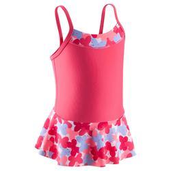 女嬰連身裙印花泳裝粉紅色