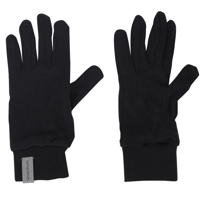 Sous-gants trekking montagne Trek 550 soie junior noir