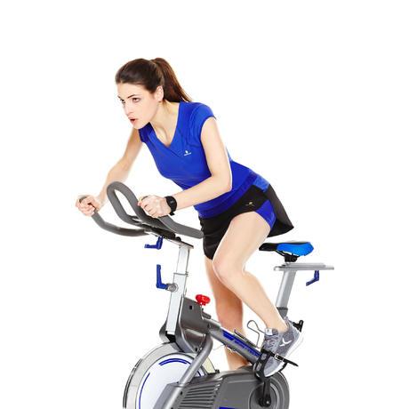Women S Fitness Indoor Biking Skort Black Blue Domyos By Decathlon