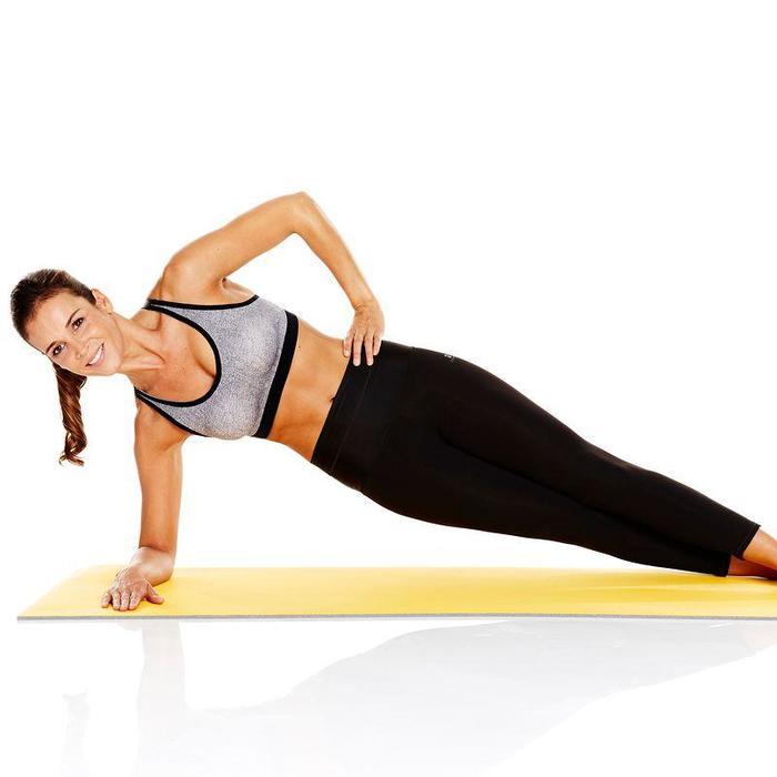 Schoenbestendige gymmat 500 pilates figuurtraining maat M 7 mm geel