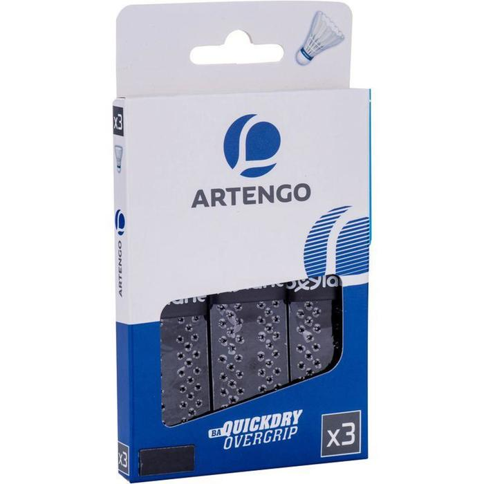 Griffband Overgrip Quick Dry Badminton 3er-Pack, schwarz
