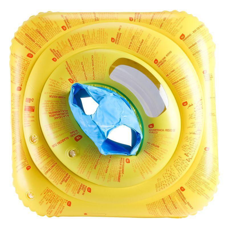 Flotador con asiento para bebé amarillo con ventana y manillas