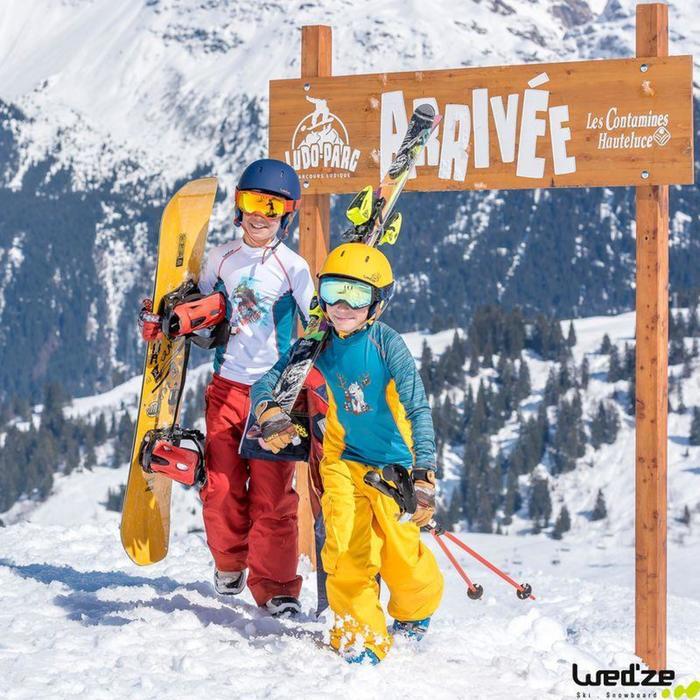 Fixations de snowboard, junior, Faky 300  noires, blanches et jaunes - 783828
