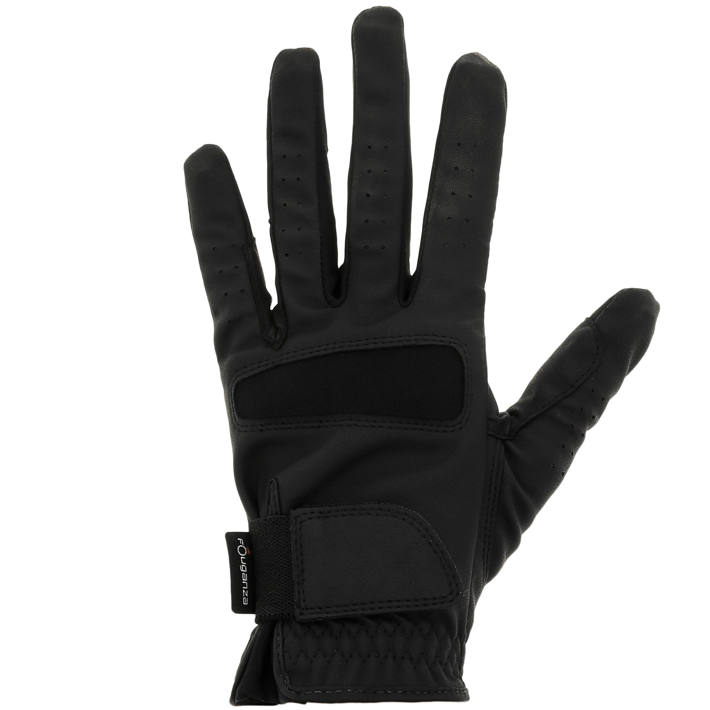 Reithandschuhe Grippy Damen schwarz   Accessoires > Handschuhe > Sonstige Handschuhe   Schwarz   Fouganza