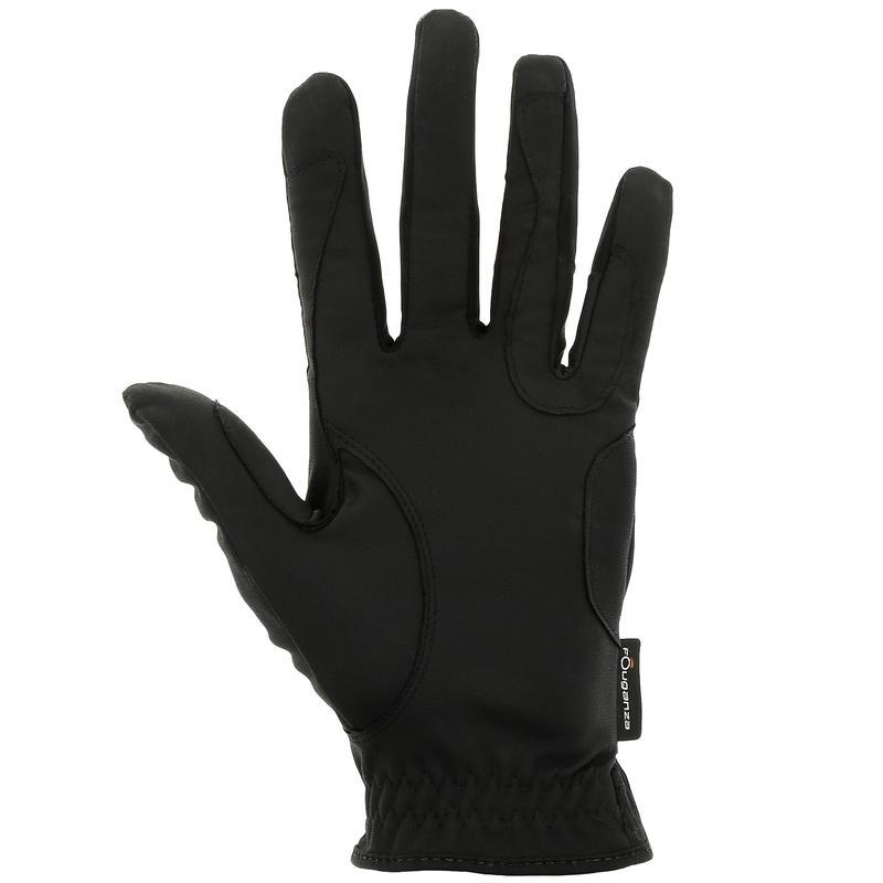 ถุงมือขี่ม้าสำหรับผู้หญิงรุ่น Grippy (สีดำ)