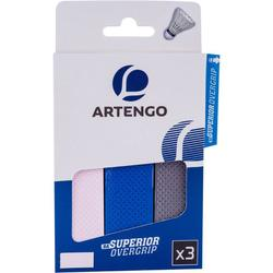 Superior Badminton Overgrip 3-Pack - White/Blue/Grey