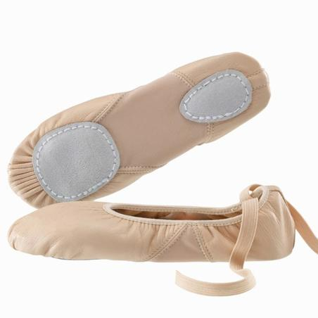 Split-Sole Leather Demi Pointe Shoes - Salmon Pink