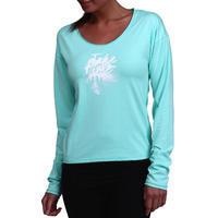 Tee-shirt manches longues gym douce, yoga, pilates femme, bleu