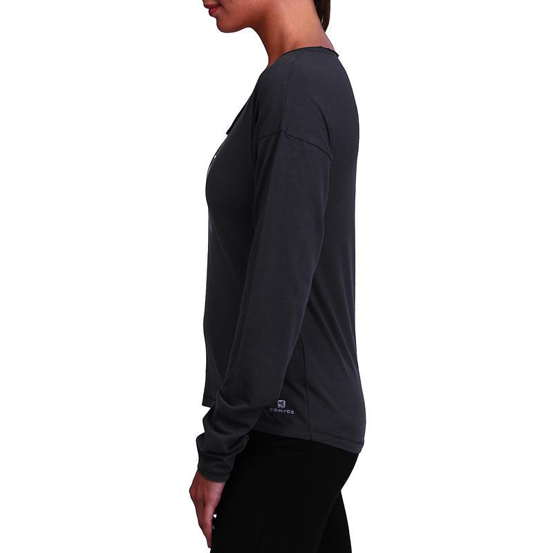 Tee-shirt manches longues gym douce, yoga, pilates femme, gris foncé