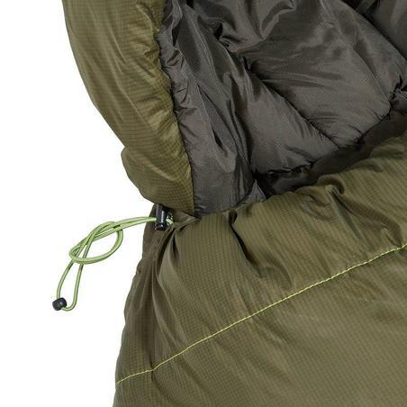 Kantong Tidur Hiking FORCLAZ 0° RINGAN - Khaki Ritsleting Kanan