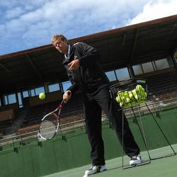 Tennisballenmand voor coaches zwart - 790693