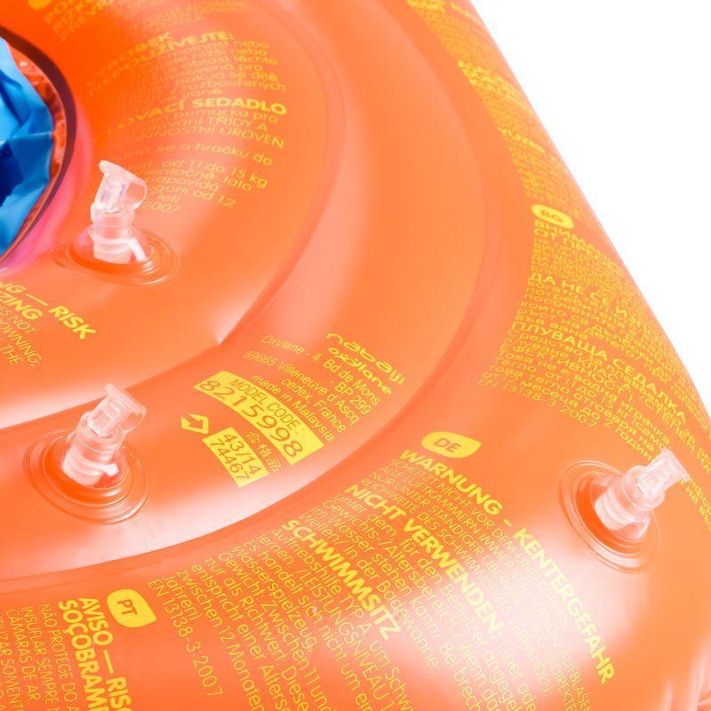 Bouée siège bébé orange avec hublot et poignées 11-15 kg