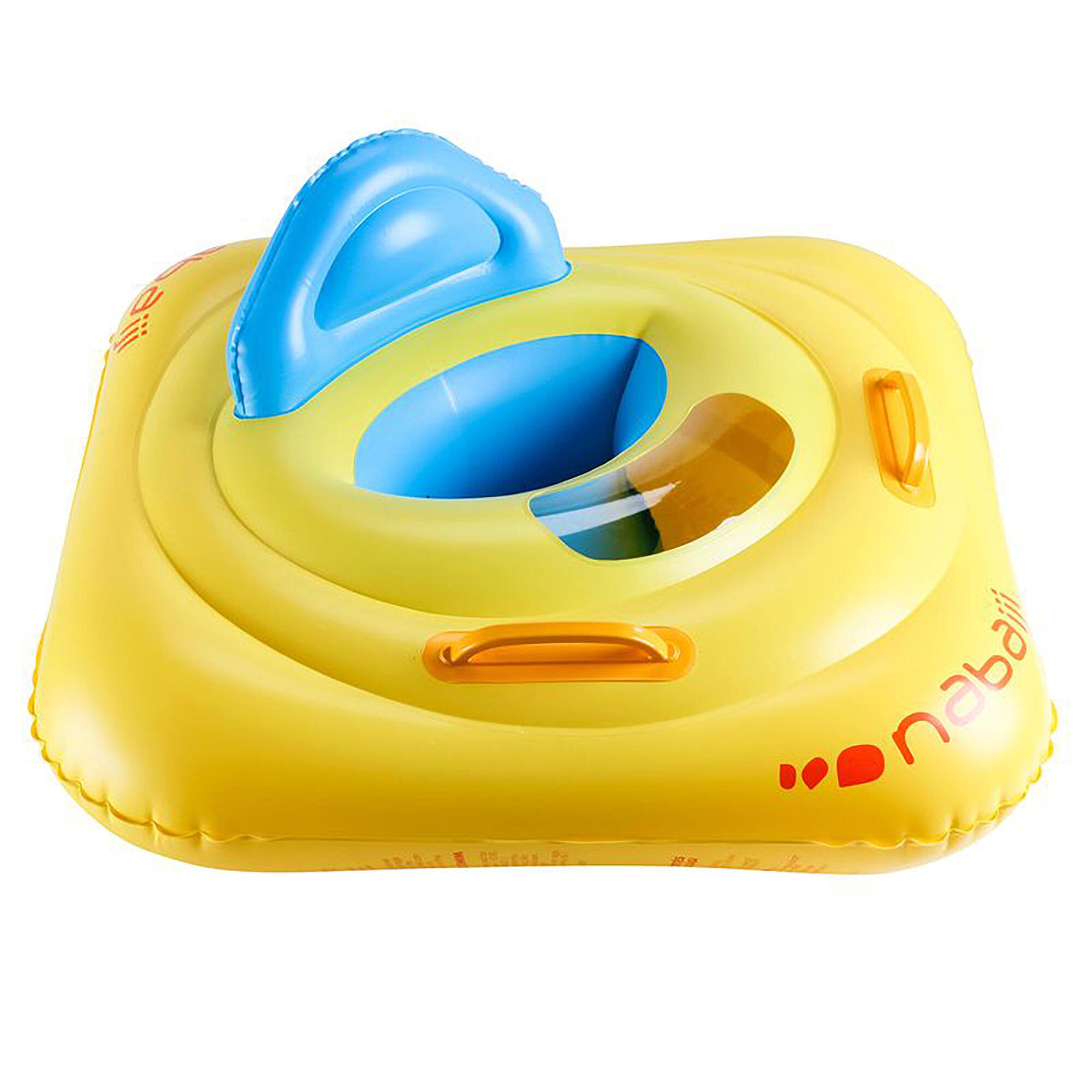 Flotador con asiento para bebé, amarillo con ventana y asas, niños de 7 a 11 kg