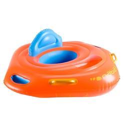 Flotador con asiento para bebé naranja con ventana y asas 11-15kg.
